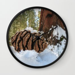 Sequoia Cone in Snow Wall Clock