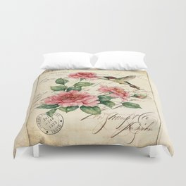 Vintage Roses Print Hummingbird Art Love Quote Rustic Decor Valentine Gift Duvet Cover