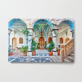 The New Archangels Church (Megalos Taksiarhis) in the medieval mastic village of Mesta on the island of Chios, Greece Metal Print