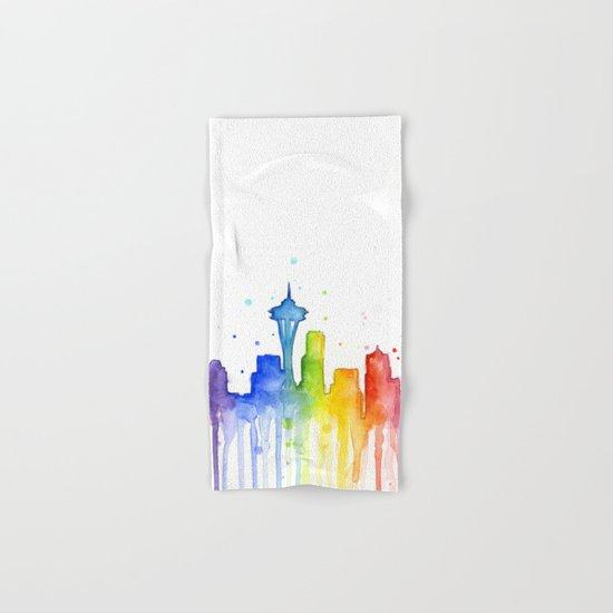 Seattle Skyline Rainbow Watercolor Hand & Bath Towel