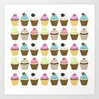 cupcakes Art Prints featuring Cupcakes by heartlocked