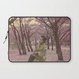 Geisha among Cherry Blossom trees Laptop Sleeve