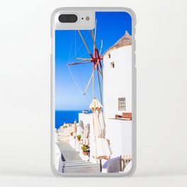 Santorini windmill Clear iPhone Case