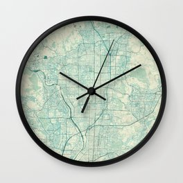 Kyoto Map Blue Vintage Wall Clock