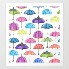 Rainy Day Umbrellas Art Print