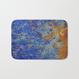 Boston Massachusetts 1893 colorful vintage old map. Orange and blue artwork Bath Mat