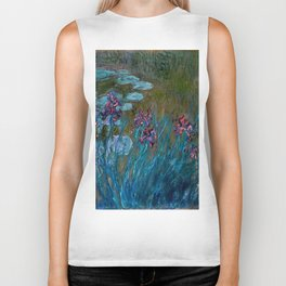 Monet Irises and Water Lilies Biker Tank