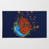 sun and moon Area & Throw Rugs featuring Sun-Moon by Aubree Eisenwinter