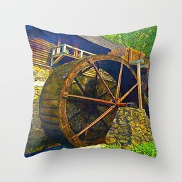 Gristmill Water Wheel Throw Pillow
