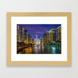 Chicago Illinois at night Framed Art Print