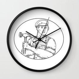Vintage Carpenter Hammer Mono Line Wall Clock