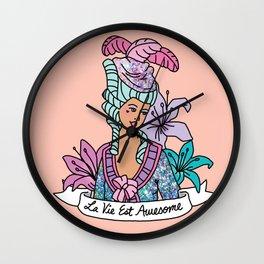 La Vie Est Awesome French Girly Glitter Sassy Feminist Pastel Kawaii Print Wall Clock