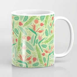 Strelitza with palm leaves and pomegranate on light green background Coffee Mug