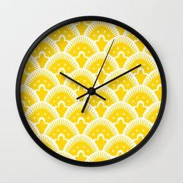 Fan Pattern Yellow 201 Wall Clock