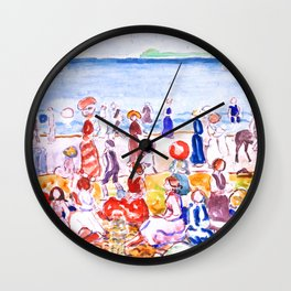 Revere Beach No. 2 by Maurice Prendergast - Belle Époque Watercolor Painting Wall Clock