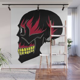 Black Skull Red Flames Fire Death Wall Mural