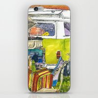 vw bus iPhone & iPod Skins featuring VW Bus Campsite by Barb Laskey Studio