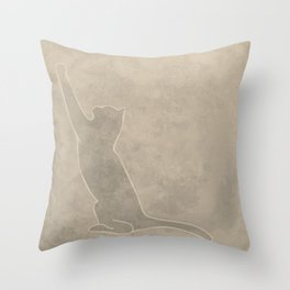 Cat sharpening nails with a textured background Throw Pillow