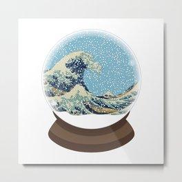 The Great Wave Snow Globe Metal Print