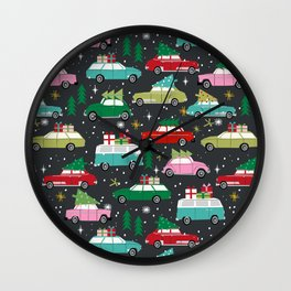 Christmas pattern print vintage cars holiday gifts presents christmas trees cute decor Wall Clock