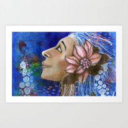 A Mermaid with a Flower Art Print