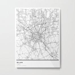 Milan Simple Map Metal Print