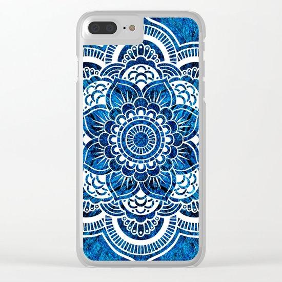 Mandala Cerulean Blue Colorburst Clear iPhone Case