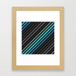 stripeS : Slate Gray Teal Blue Pixels Framed Art Print