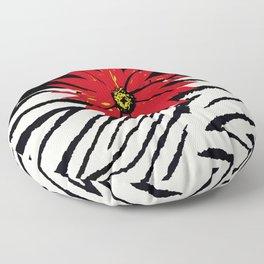 Animal Print Zebra Black and White and Red flower Medallion Floor Pillow