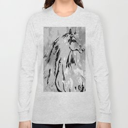 HORSE BLACK AND WHITE Long Sleeve T-shirt