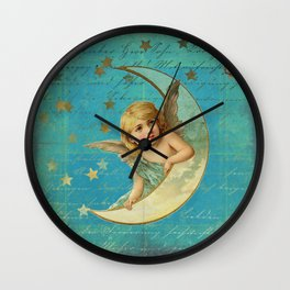 Vintage-Shabby-chic- Beautiful Christmas angel on aqua background Wall Clock