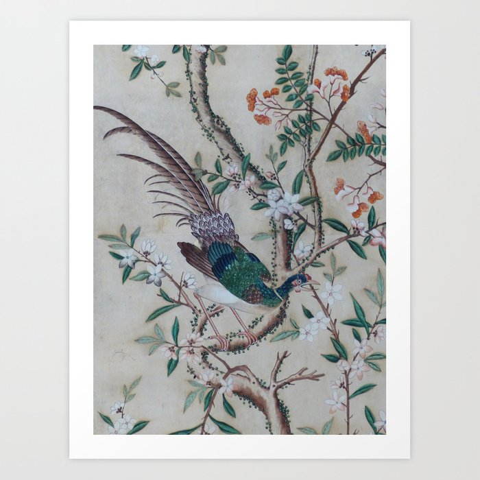 Antique Chinoiserie with Bird Kunstdrucke