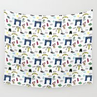 running Wall Tapestries featuring Running Doodles by Doucette Designs