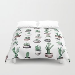 Cactus + Succulents Rose Gold Pattern by Nature Magick Duvet Cover