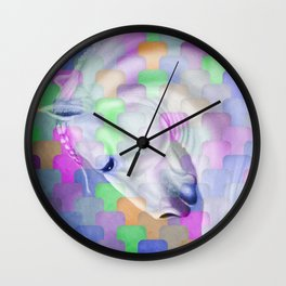 Patchwork Style Horse Rainbow Wall Clock
