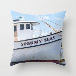 Stormy Seas - Fishing Vessel Throw Pillow