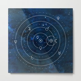 Planets Symbols on Nightsky Metal Print