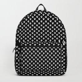 Tiny Paw Prints White on Black Pattern Backpack