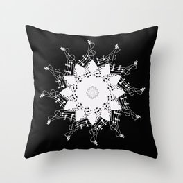 Mandala music blanc Throw Pillow