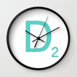 Aqua Scrabble Letter D Wall Clock