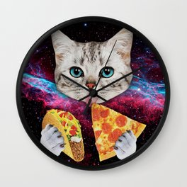 Cat Eat Pizza Wall Clock