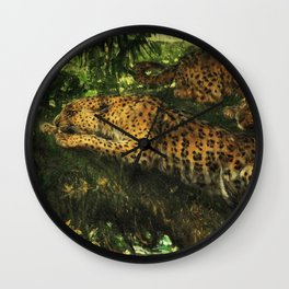 Leopards in the jungle Wall Clock