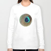 peacock feather Long Sleeve T-shirts featuring Peacock feather by Hannah