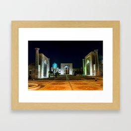 Registan square at night - Samarkand, Uzbekist Framed Art Print