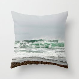 Explosive Green Surf of the St-Lawrence Throw Pillow