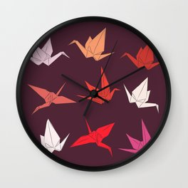 Japanese Origami paper cranes sketch, symbol of happiness, luck and longevity Wall Clock