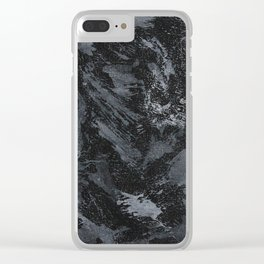 White Ink on Black Background #5 Clear iPhone Case