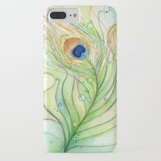 Peacock Feather Green Texture and Bubbles iPhone 7 Plus Slim Case