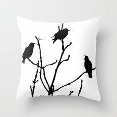 Black Birds on White Throw Pillow