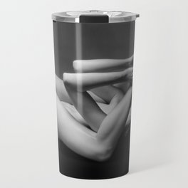 7485s-MAK Submissive Nude Woman Inspection Erotic Black & White Bare Breasted Naked Girl Travel Mug
